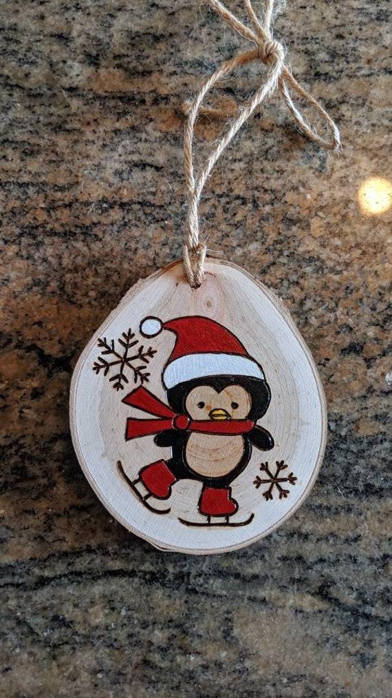 Penguin Wood Burned Ornament