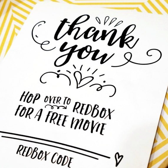 Printable Thank You Redbox Gift Card Holder for All   Etsy