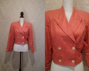1980s Peach Salmon Shoulder Pad Designer Button Double Breasted Preppy Jacket Blazer Crop Top Pointed Collar Michael Jackson Costume S-M