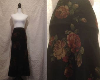 1990s LAURA ASHLEY Maxi Skirt Black Floral Vintage Print Renaissance Rococo Romantic Spring Summer Boho Hippie L-XL