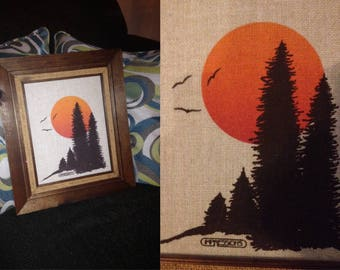 """1970s """"Impressions"""" Woven Nature Scenic Sunset American Forest Trees Photo Wall Hanging Painting W/ Wooden Frame Hippie Hiker Retro"""