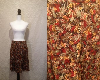 1990s A Line Orange Red Tropical Floral Mini Skirt Summer Spring Holiday Vacation M-L