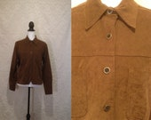 1990s Does 1970s Caramel Faux Suede Leather Button Up Collared Blouse Shirt Woodstock Festival 60s Hendrix Who Zeppelin S-M