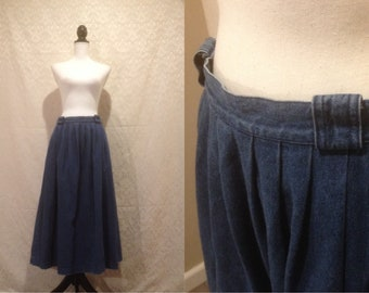 83a550f3a40 1990s Maxi Denim Skirt Prairie Country Farmer Boho Hippie A Line M-L