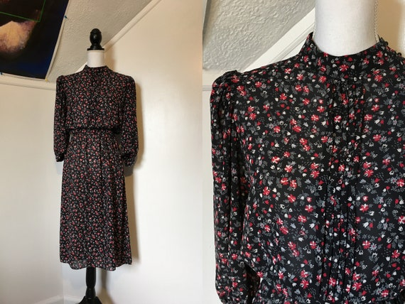 1980s Sheer Black Red Floral Ditsy Print Blousy Mi