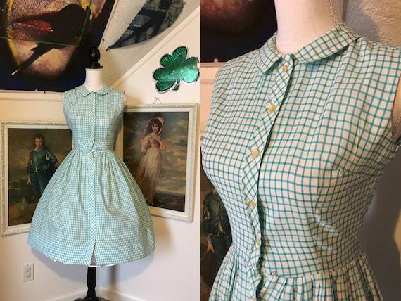 1950s Baby Blue Grid Sleeveless Button Up Midi Sum