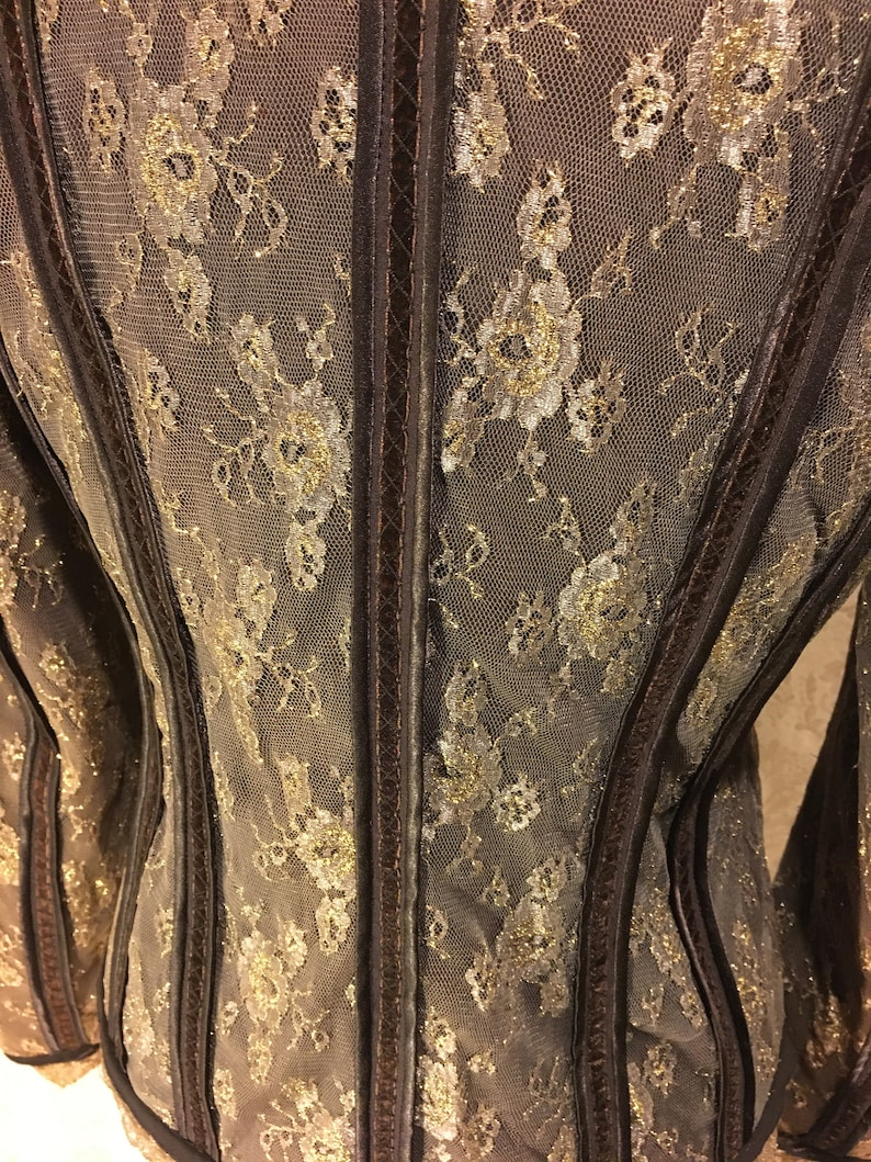 1990s Gold /& Brown Romantic Sparkly Lace Renaissance Victorian Couture Chic Velvet Collared Spring Fall Jacket Medieval Women/'s SM