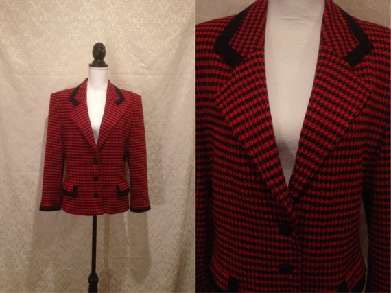 1960s Red Black Houndstooth Blazer Mod Dogtooth Pa