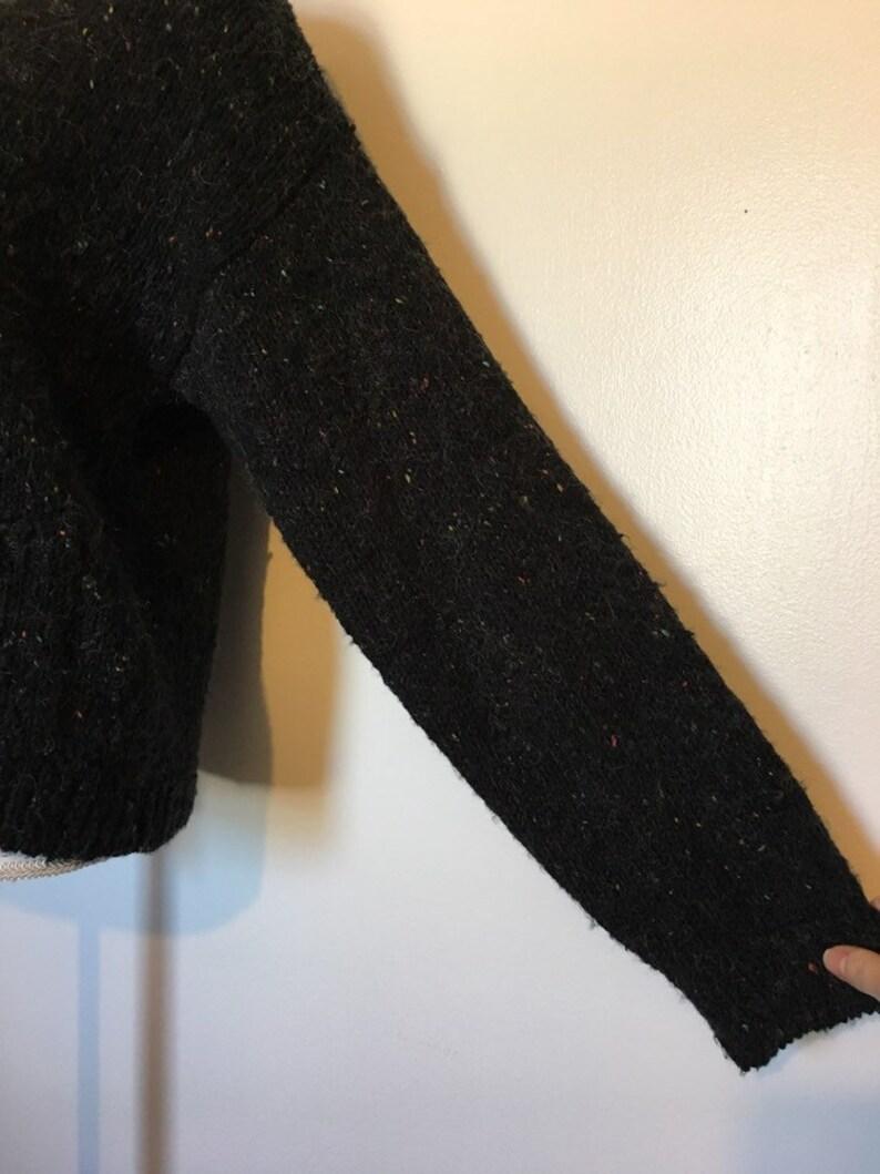 1980s Black Confetti Knit Fuzzy Furry V Neck Grandpa Cardigan Women/'s M