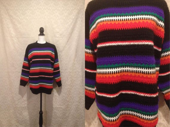 1970s Yellow Knitted Granny Grandpa Sweater Winter Christmas Holiday Striped Puff Sleeve L