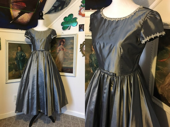 1950s Grey Shiny Ball Gown Formal Party Dress M