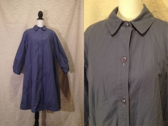 1970s Pastel Lilac Purple Button Up Collared A Lin