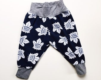 fe4366b58 Baby Boy or Girl Toronto Maple Leaf Inspired Cuff Pants. Dark Blue with  Grey Cuffs and Waistband