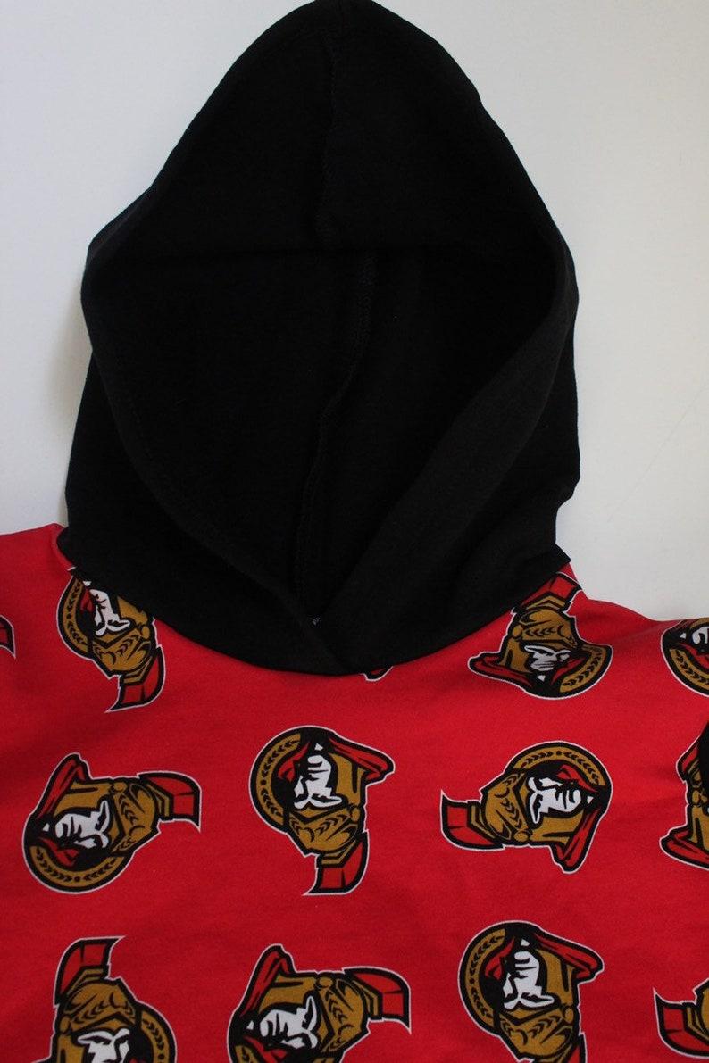 Boy or Girl Ottawa Senators Inspired Hooded Sweatshirt Red and Black
