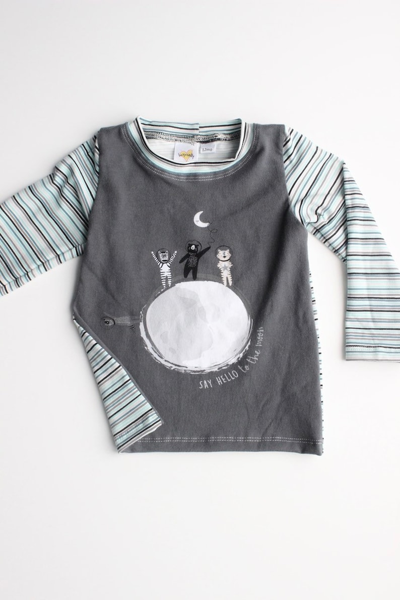 Baby Boy or Girl Clothing Set Animals in Space on Grey Long Sleeve Shirt Striped Cuff Pants in Blue and White