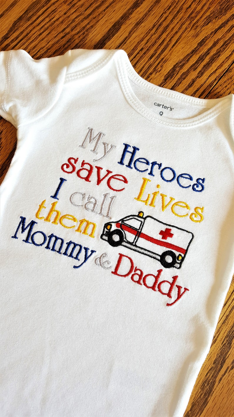 My HERO Saves Lives I call her Mommy Daddy Paramedic Ambulance Medical Doctor Dr Nurse Rn Lpn First Responder EmT EmS Emergency Aunt Uncle
