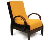 Art Deco Bentwood Oak Armchair fully restored and upholstered in Harris Tweed