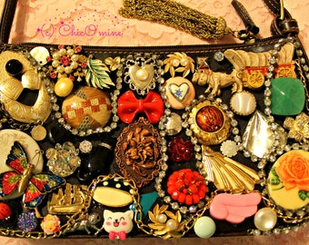 SALE! Embellished/Decoden Purse w/ Vintage and New Cabochons- Avant Garde, Kitsch, Kawaii