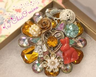 Glitzy Flower Rhinestone Vintage Assemblage Adorned Brooch: Nature, Repurposed, Boho, Gypsy, Mori Kei, Fantasy, Whimsical