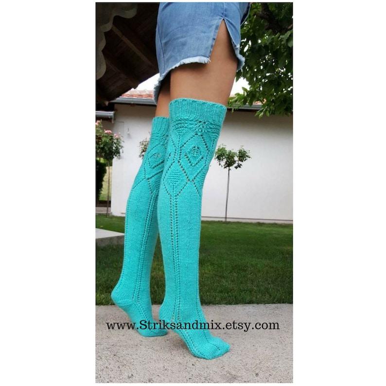 4ee06130e Turquoise Knee High Socks Thigh High Socks Women s Long