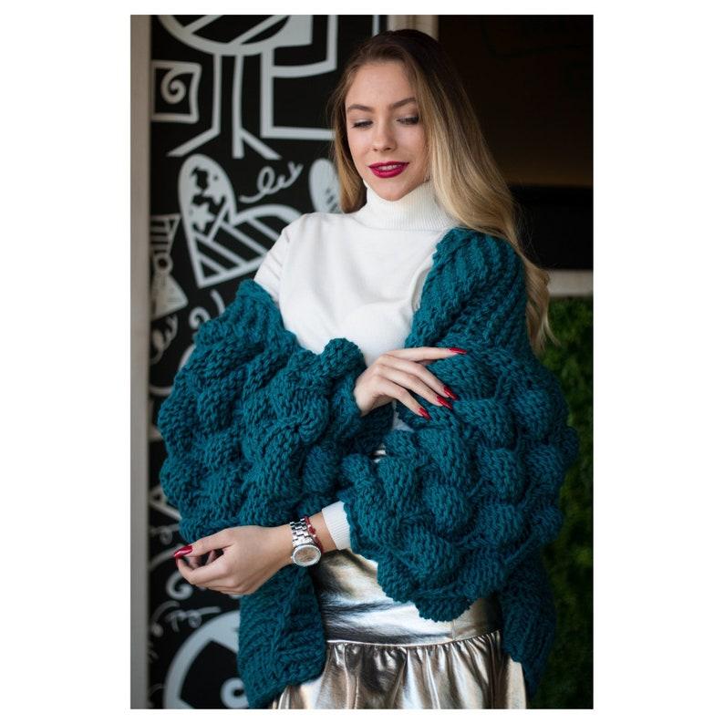 915e1efa49550 Deep Blue Bubble Sleeve Chunky Cardigan Oversized Knit Bobble