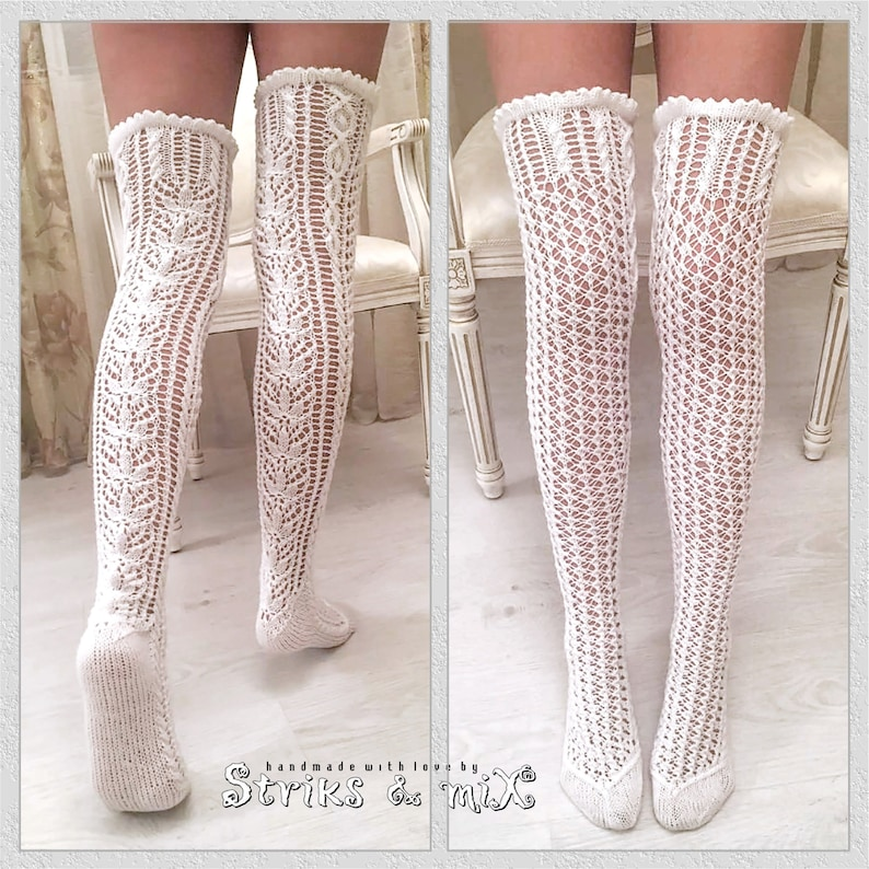 3fa3c6832 Hand knitted Lacy White Thigh High Socks Lace long socks