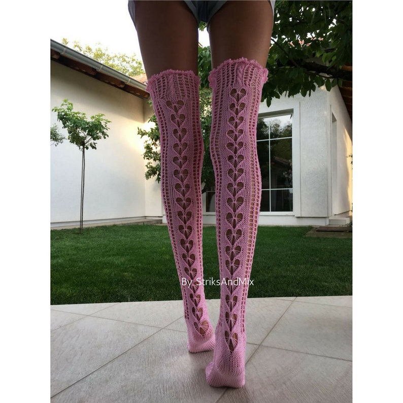 13ad9f6ff Pink wedding lace thigh high stockings Knitted woman lace long