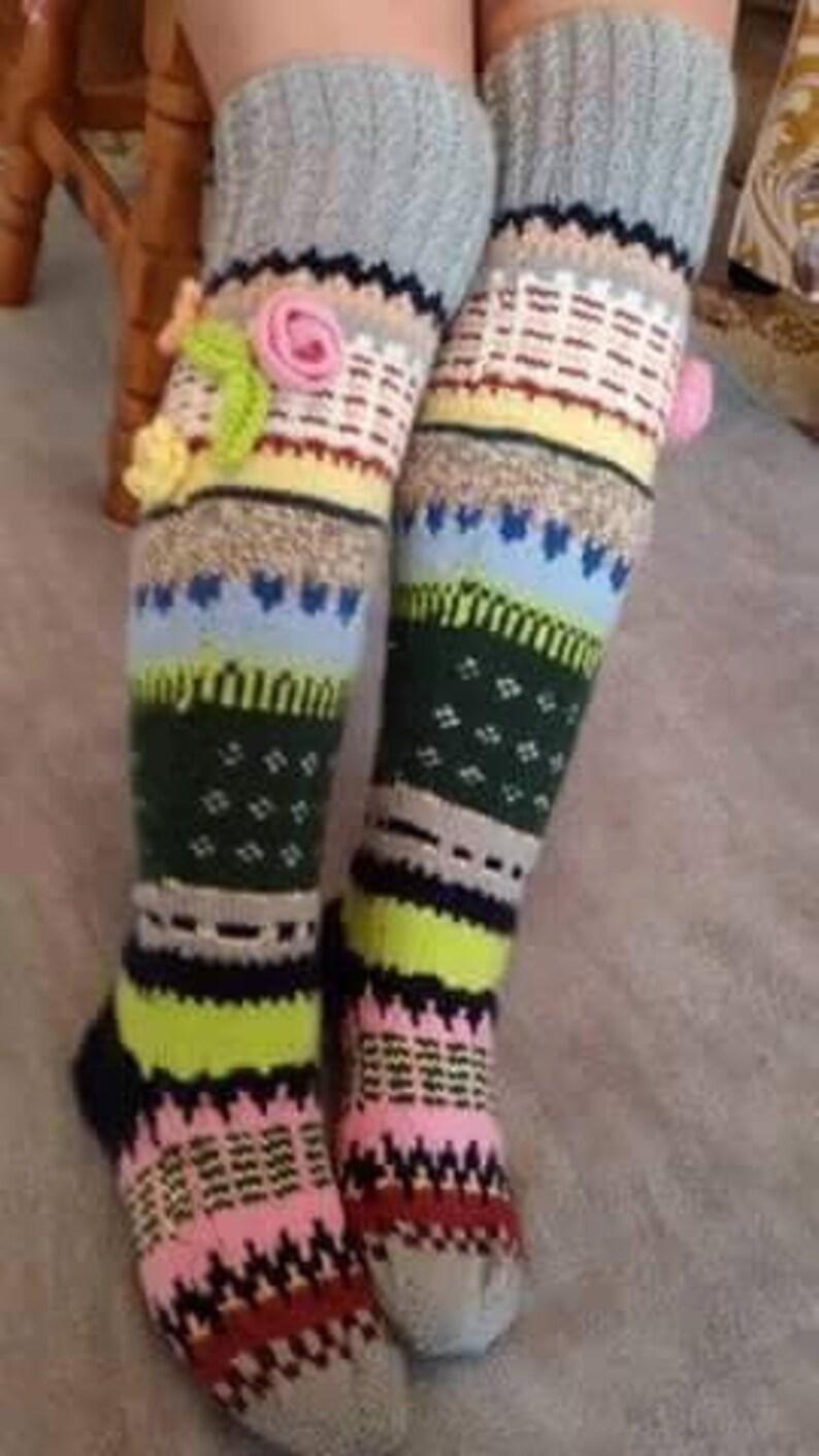 0cc0db4724c Over the knee socks Hand knit knee socks Wool socks Knitted