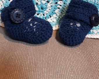 Crochet Blue Baby Booties