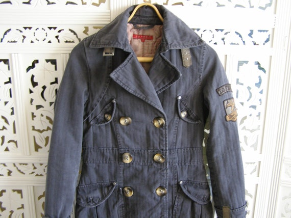 Denim 12uk Jeans SVintage 34 Größe MantelDamen JackeDunkelgrau Winter Mantel Trenchcoat4 36eu 6us 8nw0OPkX