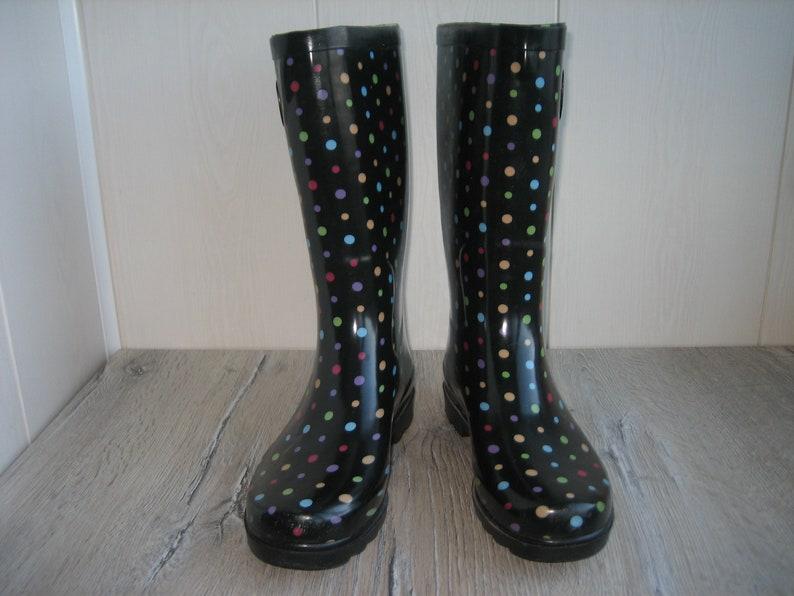 Size 9us  7uk  39eu Vintage Women/'s Rubber Boots Multicolor Rubber Boots Womens Rain Boots Rain Boots Ladies Rubber Boots