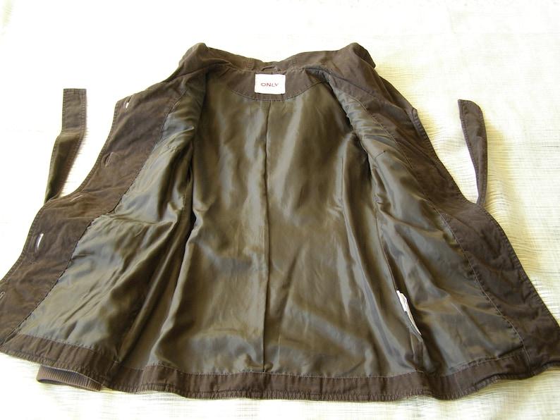 Size 6us 12uk 36eu Size S ONLY Vintage Women/'s Jacket Dark Brown Coat Jacket Cotton Blazer with Hood