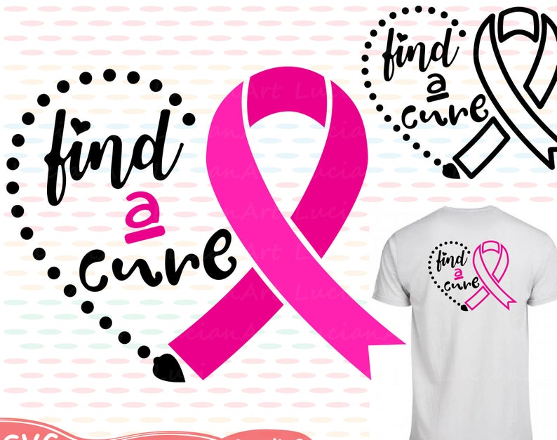Breast Cancer Ribbon Monogram Silhouette Svg Cutting Files Etsy