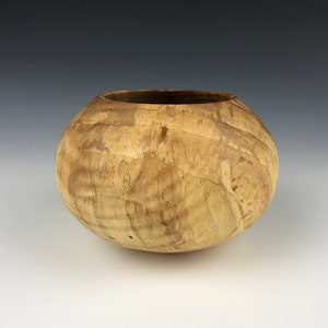 Figured Hardwood Bowl Traditional Basic Wood Bowl Ambrosia Maple Bowl Hand Turned Low Wide Wooden Bowl