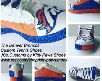 Broncos Shoes Women s Football Denver Broncos Glitter Fan Blue Oramge White  Sneakers  Free U.S. Shipping  JCo.Customs by Kitty Paws Shoes 45c23af2377c