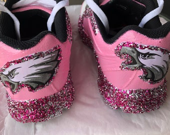 c40fba4a3c7 Philadelphia Eagles Womens Football Fan Custom Hot Pink Glittered Sneakers * Free U.S. Shipping* JCo.Customs by Kitty Paws Shoes