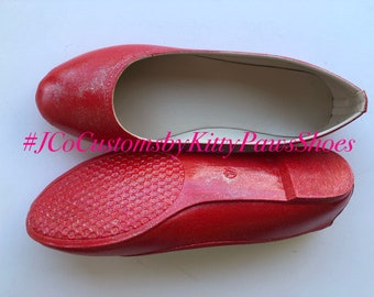 4e73db73a Red Flats Women s Custom Ruby Red Shimmery Bridal Ballet Flats  Free U.S.  Shipping  JCo.Customs by Kitty Paws Shoes