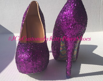 dfa15bd402033 Purple Heels Women s Custom Glitter w Shimmery Colorful Rainbow Bottoms   Free U.S. Shipping  JCo.Customs by Kitty Paws Shoes