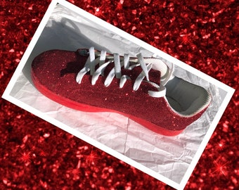 dbcb24961c3e Red Glitter Sneakers Women Ruby Red Glitter Tennis Shoes with Red Shimmery  Bottoms **Free U.S. Shipping** JCo.Customs by Kitty Paws Shoes