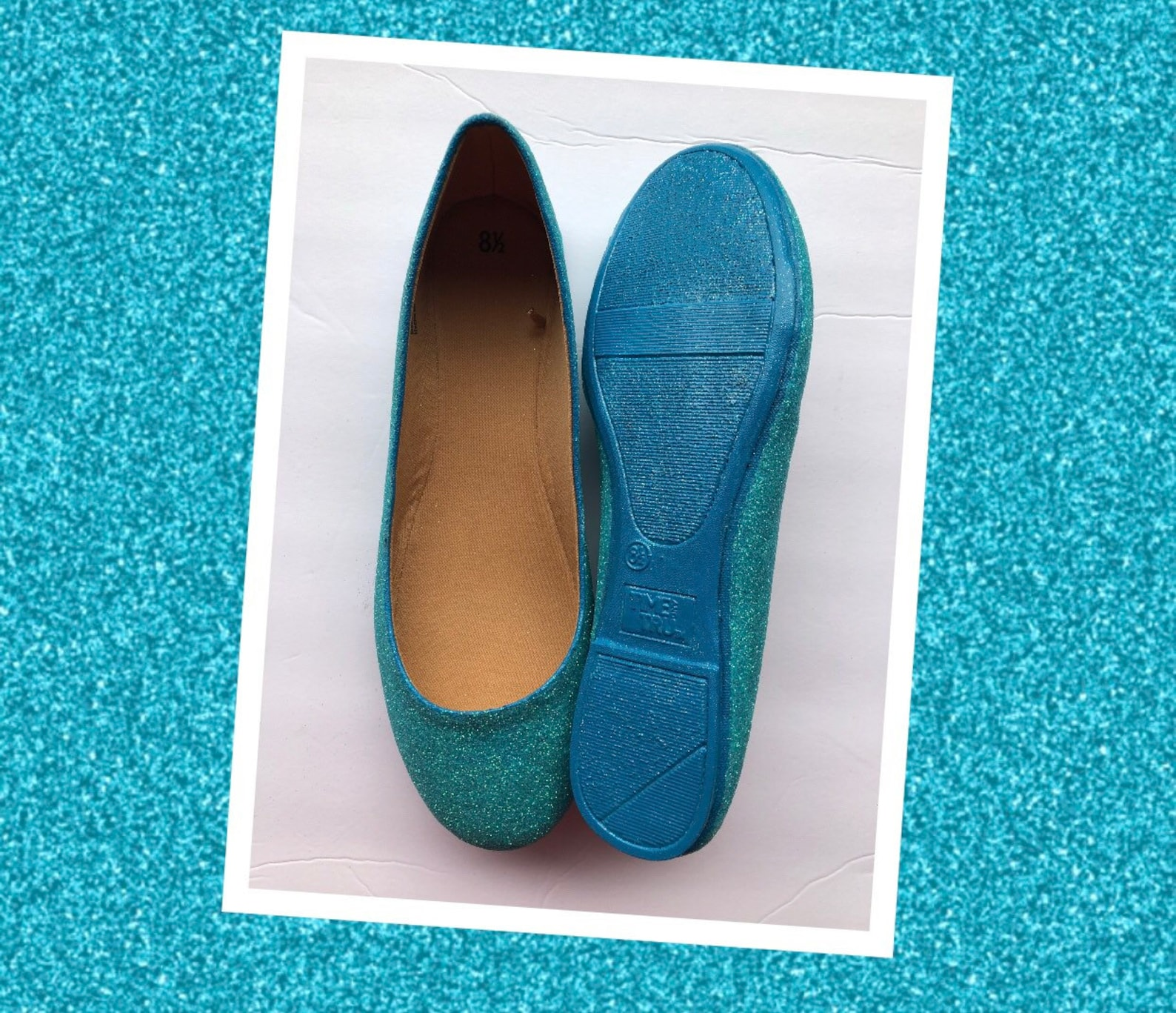 blue flats custom women's blue turquoise glittered ballet flats w/blue shimmer bottoms *free u.s. shipping* jco.customs by k
