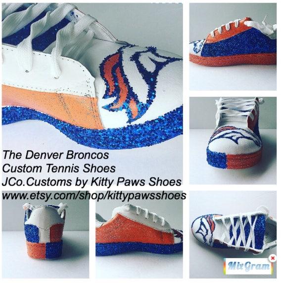 promo code 3ea66 161e2 Custom Broncos Shoes Women s Denver Broncos Glitter Blue   Etsy