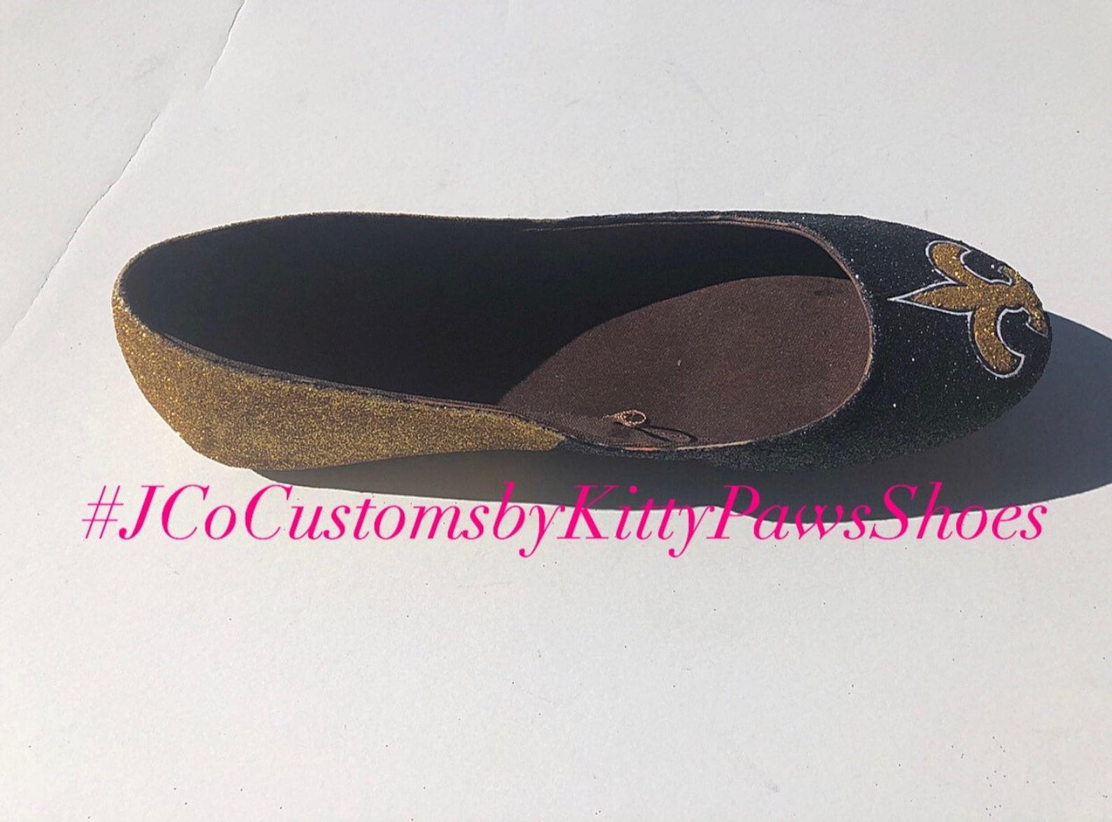 saints flats custom women's new orleans gold and black glitter fan ballet shoes *free u.s. shipping* jco.customs by kitty pa
