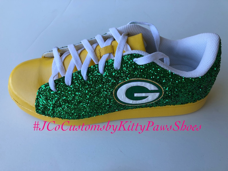 f6533920a16b8 Green Bay Packers Women's Custom Emerald Green Glitter w/Bright Yellow  Bottoms Sneakers *Free U.S. Shipping* JCo.Customs by Kitty Paws Shoes
