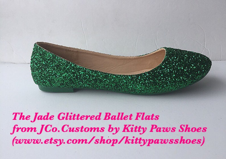 af3ed5b00f Bridal Shoe Flat Weddding Emerald Green Glitter w/ Emerald Green Sparkled  Bottoms *Free U.S. Shipping* JCo.Customs by Kitty Paws Shoes