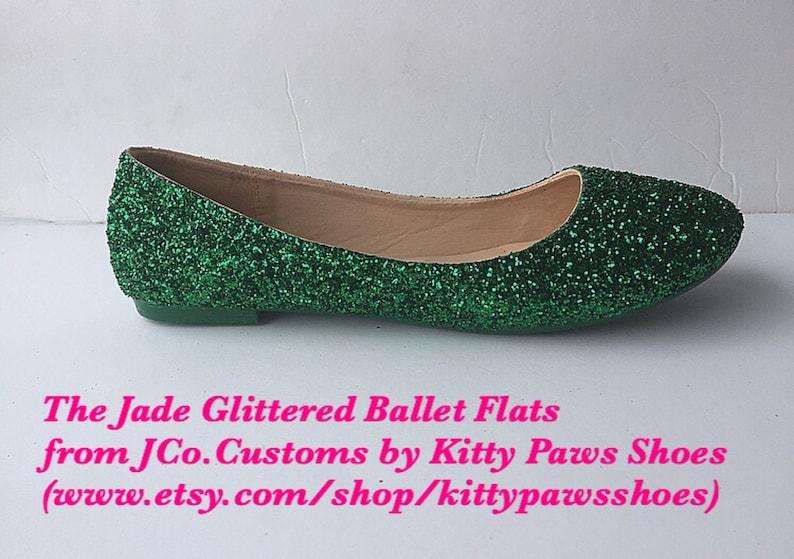dd62f1931d Bridal Shoe Flat Weddding Emerald Green Glitter w/ Emerald Green Sparkled  Bottoms *Free U.S. Shipping* JCo.Customs by Kitty Paws Shoes