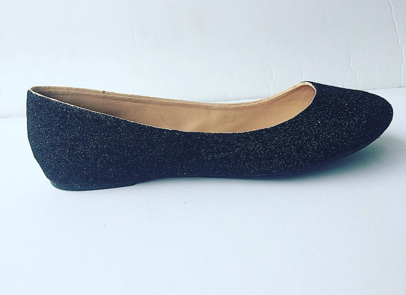 ballet flat women's custom black glittered bridal flats w/shimmery black bottoms *free u.s. shipping* jco.customs by kitty p