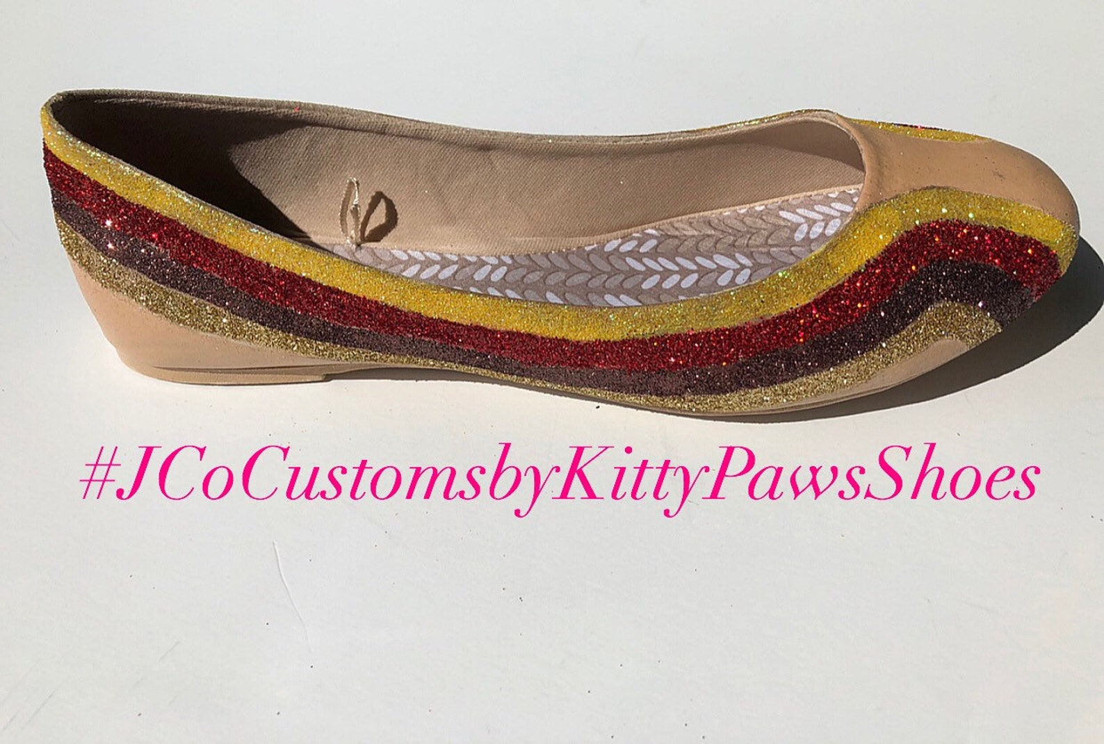 ballet flat women's custom gold red brown & champagne glitter striped flats *free u.s. shipping* jco.customs by kitty paws s
