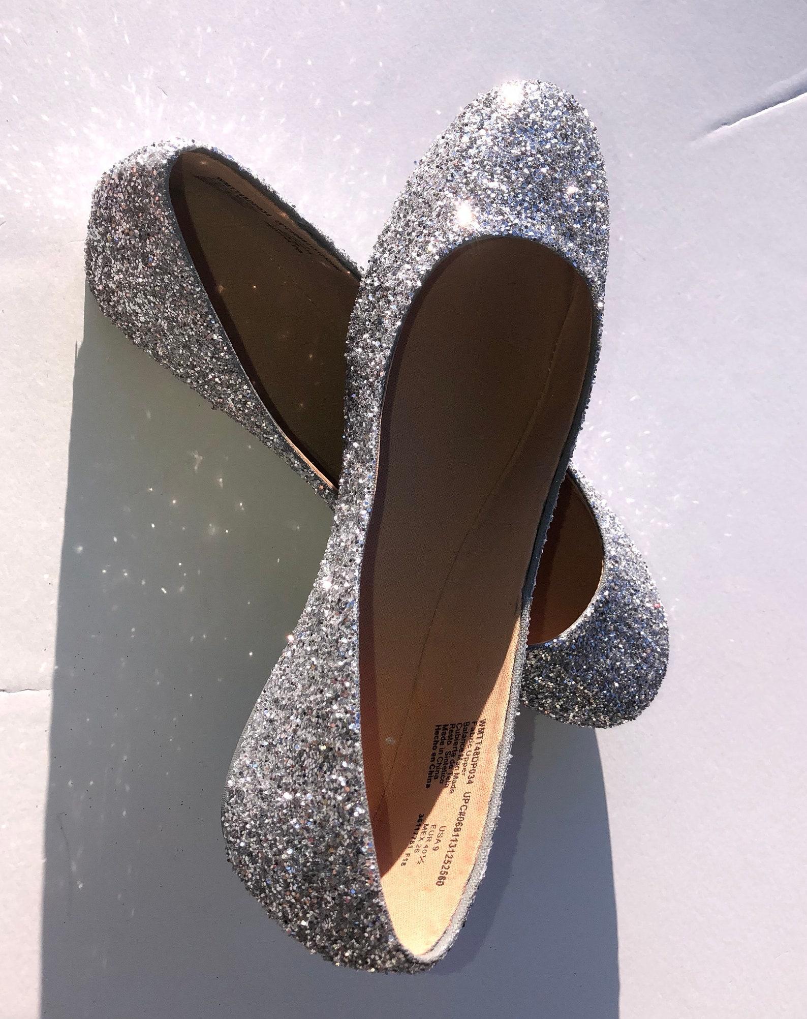 silver flats custom women silver glittered wedding ballet flats w/silver shimmer bottom *free u.s. shipping* jco.customs by kitt