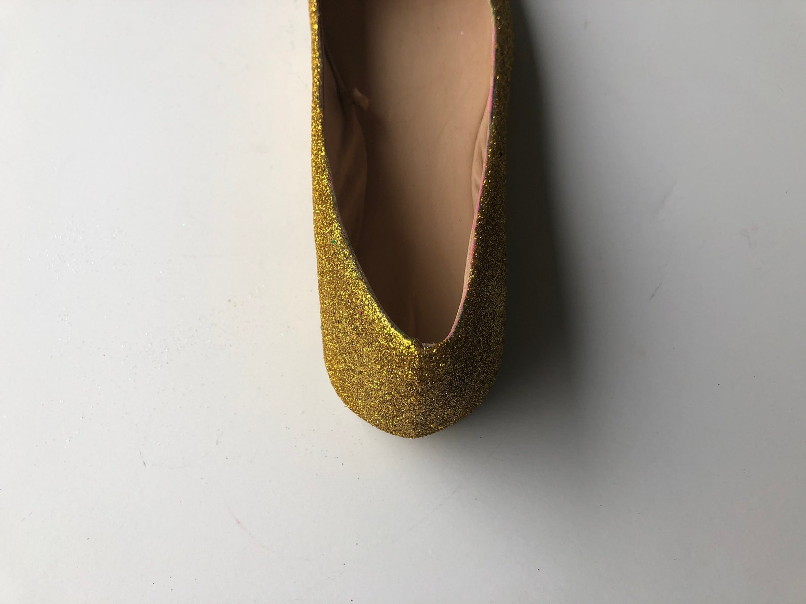 gold flats women's custom gold glitter bridal ballet flats w/gold shimmer bottoms *free u.s. shipping* jco.customs by kitty