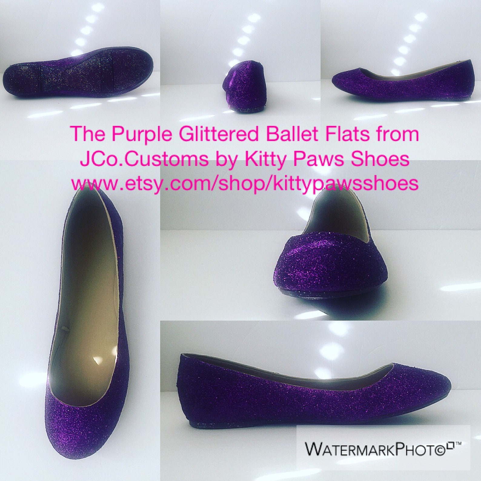purple shoes women's dark plum purple glittered ballet flats w/purple shimmery bottoms *free u.s. shipping* jco.customs by k